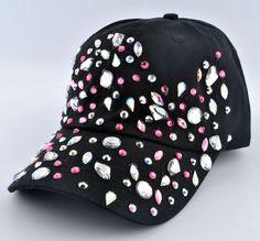 Women Glitter Crystal Rhinestone Bling Denim Adjustable Baseball Cap Tennis Hats