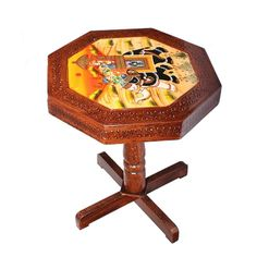Handcrafted And Handpainted Wooden Stool Cum Side Table 15 Inch Traditional Cup Conversion, Wooden Side Table, Wooden Stools, Wooden Decor, Poker Table, Home Decor Items, Home Crafts, Living Room Decor, Hand Painted