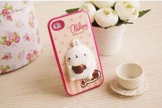 iPhone 4 Cute Molang Change Up 3D Jelly Case Pink Coffee