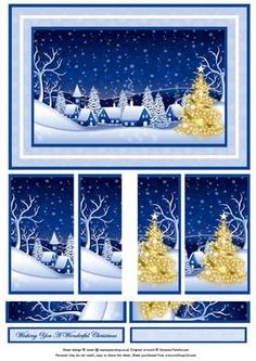 CHRISTMAS WINTER SCENE IN BLUES side stacker decoupage on Craftsuprint designed by Janet Briggs - This is one of my favourite christmas toppers. A beautiful winter scene, presented in side stacker format. Sheet includes a base topper and additional strips to create your decoupage layers. Cut out the vertical strips and layer at the appropriate sides of the base image. Creates a lovely 3d effect, which draws the eye to the centre of the picture. Picture used under extended license � Vanessa…