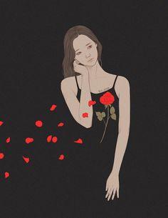 옅은 바람에도 붉은 심장이 흔들려  꽃잎처럼 흐드러진다