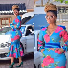 African Wedding Attire, African Attire, African Fashion Dresses, African Dress, Fashion Outfits, African Design, African Style, Shweshwe Dresses, African Traditional Dresses