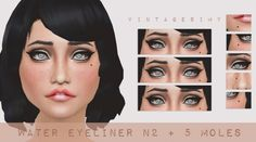 Water Eyeliner + Moles Set at Vintage Simy via Sims 4 Updates  Check more at http://sims4updates.net/make-up/water-eyeliner-moles-set-at-vintage-simy/