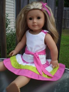 18 doll clothes American Girl Pink Limegreen by sassydollcreations, $12.99