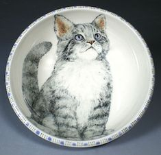 Hand Painted Pottery with Animal and Dog Art by Nan Hamilton Boston MA - Use this little dish or just keep it around for the company the kitten provides.