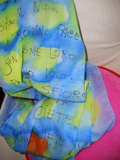 sciarpa dipinta a mano di cotone con poesia - handpainted cotton scarf with poem
