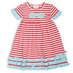 Coral Stripe Aqua Squinchy Cotton Dress – Lolly Wolly Doodle
