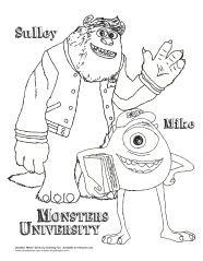 monsters university coloring page sulley and mike - Pixar Coloring Pages Monsters
