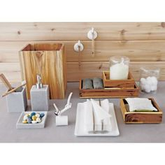 these teak boxes could go with the glass accessories we already have. Mix and match.