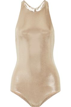 Halston Heritage - Anjelica Open-back Stretch-lamé Bodysuit - Gold -