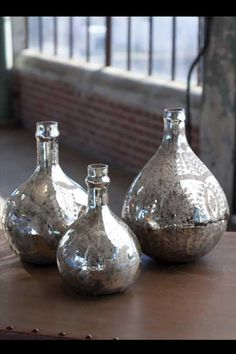 Antiqued Mercury Demijohn Wine Bottles