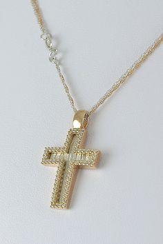 Βαπτιστικός σταυρός σε ροζ χρυσό, με ζιργκόν και καδένα δίχρωμη διπλή, 14 καράτια, κορίτσι, Κωδικός GS259 Jewellery, Dresses, Pearl Necklaces, Gowns, Jewels, Jewelry Shop, Jewerly, Dress, Vestidos