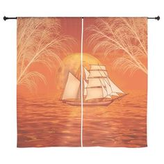 Clipper Ship Sunset Curtains Beautiful orange #sunset ocean with #Clipper ship #Sailboat #sailing graphic art by TheTshirtPainter. Available on a lot of products.  For all products with this design click here - http://www.cafepress.com/dd/104599949