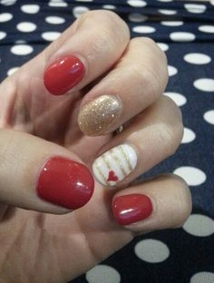 Red and Gold Nails @Red Carpet Manicure