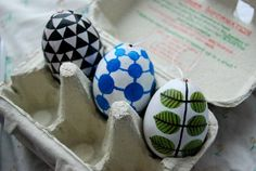 easter eggs decorated in classic swedish tableware patterns by Cecilia Danell