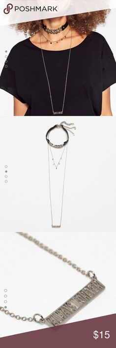 "🆕 ZARA Choker & Necklace Set 3 piece set. Faux leather & silver link choker.  Silver necklace with round dangles. Silver necklace name plate ""Forever Always"". Zara Jewelry Necklaces"