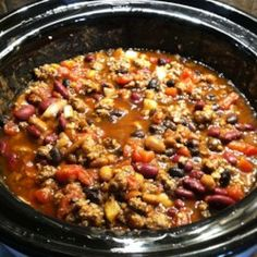 """Freezes great for meals later in the week"""" 3 bean chili recipe, chili recipe 3 Bean Chili Recipe, No Bean Chili, Chili Recipes, Gourmet Recipes, Cooking Recipes, Chili Chili, Bean Recipes, What's Cooking, Slow Cooker Chili"""