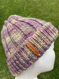 Excited to share this item from my #etsy shop: Handmade knitted purple beanie, purple merino beanie, mens beanie, organic beanie, ladies purple beanie, merino knit hat, rainbow beanie