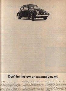 "Vintage VW Beetle Ad ""Price Scare"""