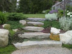 How To Make Your Own Stone Stairs Stone landscaping, Garden stairs, Sloped garden Front garden ideas – best front garden designs for kerb a. Stone Landscaping, Hillside Landscaping, Landscaping With Rocks, Front Yard Landscaping, Landscaping Ideas, Walkway Ideas, Front Walkway, Front Steps, Hillside Garden