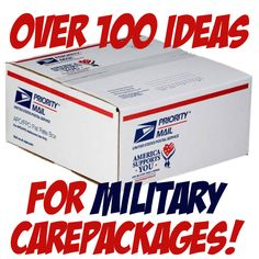 Over 100 Ideas for military care packages including birthdays, themes and kid friendly projects!  Great ideas to create your own package for your deployed soldier, sailor, marine, airman or coastie - MilitaryAvenue.com
