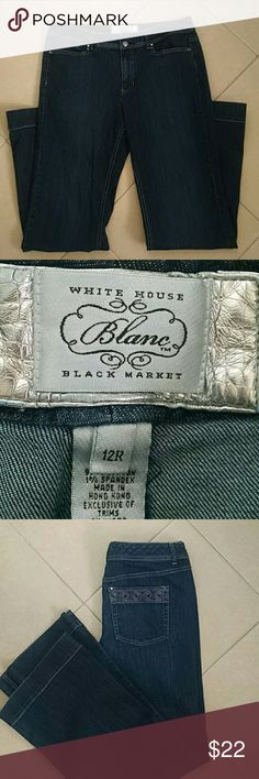 White House Black Market jeans Size 12 regular cotton/ spandex wide leg jeans. Embellished back pockets, bottom at hems are in good condition. Approximately 31 inch inseams. White House Black Market Jeans Flare & Wide Leg