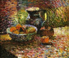 Still Life with Pitcher and Fruit, 1898 Henri Matisse - by style - Pointillism - this just makes the food come alive. Henri Matisse, Matisse Kunst, Matisse Art, Matisse Drawing, Pablo Picasso, Matisse Pinturas, Matisse Paintings, Oil Paintings, Still Life Artists