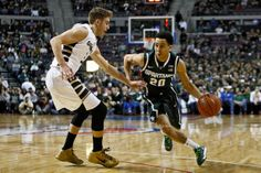 Travis Trice drives to the basket during their game against Oakland on Saturday at The Palace of Auburn Hills in Auburn Hills. (Mike Mulholland | MLive.com)