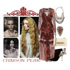 """""""Crimson Peak Gothic Style"""" by legendaryofficial ❤ liked on Polyvore featuring Exclusive for Intermix, Sophia Webster, Jeweliq, Pamela Love and Valentino"""