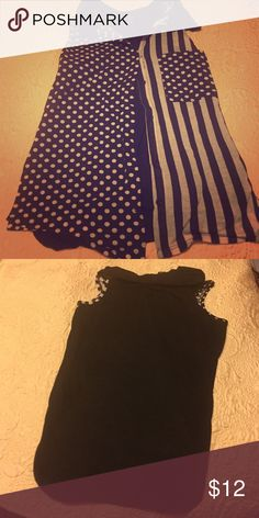 Button up sleeveless top Black and white, sleeveless, collared top. One side has vertical stripes, the other side has polka dots. The side with stripes has a pocket with polka dots. The back of the shirt is solid black. (Never been worn) Tops Blouses