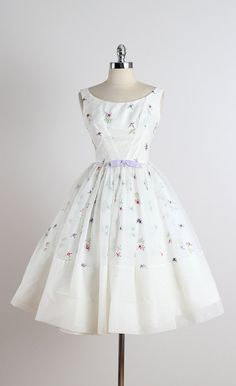 ➳ vintage 1950s dress * white chiffon * acetate lining * beautiful floral embroidery * purple bow accent * metal back zipper * by Fred Perlberg