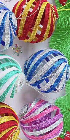 This ornament was made with glitter craft foam and a hot glue gun and string Christmas Fair Ideas, Christmas Ideas, Christmas Crafts, Christmas Decorations, Xmas, Foam Christmas Ornaments, Handmade Ornaments, How To Make Ornaments, Craft Foam