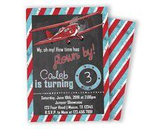 Vintage Airplane Birthday Invitation - Boy Birthday Time Flown By - Aviation Invite - Old Vintage Biplane Invitations - Red White and Blue