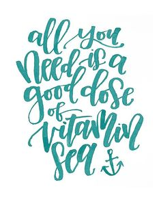 All You Need is a Good Dose of Vitamin Sea Instant Download Summer Quote Printable by MiniPress