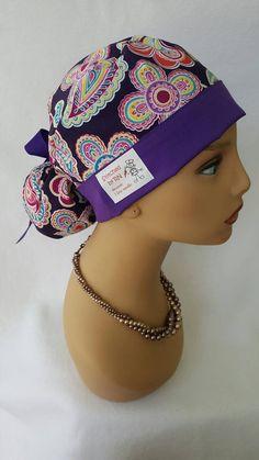Ponytail scrub hat with ribbon  Scrub hat   Nurses hats   Surgical scrub hat    Scrub Techs hats   Scrub hats  Scrub cap a7a42885e3d8