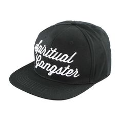 Spiritual Gangster Script Snapback Hat Black ($30) ❤ liked on Polyvore featuring accessories, hats, holiday hats, snapback hats, snap back hats and cocktail hat