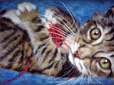 A Little Ball Of Fun by astarvinartist on DeviantArt Diviant Art, Here Kitty Kitty, Kitty Cats, Knight Art, Realistic Drawings, Cool Cats, Kittens Cutest, Cat Art, Wallpaper