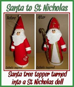 Catholic Inspired ~ Arts, Crafts, and Activities!: Turn a Santa Tree Topper into a St. Old Fashion Christmas Tree, Christmas Tree Wreath, Retro Christmas, Christmas Tree Toppers, Christmas Christmas, Easy Crafts For Kids, Christmas Crafts For Kids, Diy Christmas Gifts, Catholic Crafts