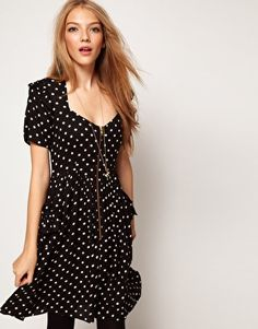ASOS Skater Dress In Spot Print With Zip Front