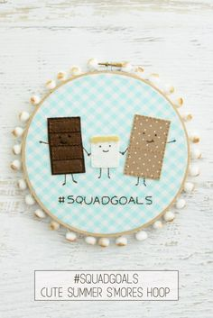Cute Summer S'mores Embroidery Hoop Art - Home Decor Embroidery Patterns Free, Embroidery Hoop Art, Sewing Patterns Free, Free Sewing, Embroidery Stitches, Sewing Diy, Embroidery Techniques, Sewing Crafts, Easy Sewing Projects