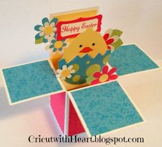 Cricut with Heart: Easter Pop Up Box card Pop Up Box Cards, 3d Cards, Paper Cards, Folded Cards, Card Boxes, Cricut Cards, Stampin Up Cards, Scrapbook Cards, Scrapbooking