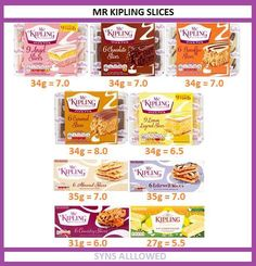 Mr Kipling slices of cake sun values for slimming world (chocolate treats slimming world) Asda Slimming World, Slimming World Shopping List, Slimming World Sweets, Slimming World Syns List, Slimming World Syn Values, Slimming World Recipes Syn Free, Slimming World Plan, Slimming Eats, Low Syn Treats