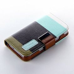 eFuture(TM) Blue & Black & khaki Multi-Function Painting Series Flip Leather Wallet Pouch with Lanyard Case Cover for Apple iPhone4 4S +eFut...