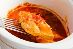 Slow Cooker Salsa Chicken Recipe with Lime and Melted Mozzarella (Low-Carb, Gluten-Free)  [from KalynsKitchen.com]