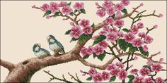 Two birds on a blossom branch-cross-stitch patternhttps://cross-stitching.biz/two-birds-on-a-blossom-branch-cross-stitch-pattern/