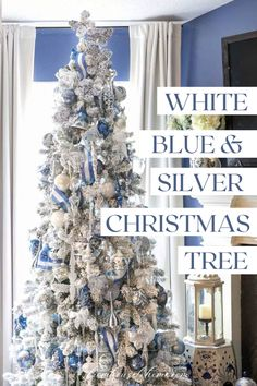 I love this wintry white, blue and silver Christmas tree decor! Lots of ideas for beautiful, glam Christmas decorations made with ribbon and crystal ornaments. Blue Christmas Decor, Gold Christmas Decorations, Silver Christmas Tree, Christmas Tree Themes, White Christmas, Christmas Home, Christmas Ornaments, Clear Glass Ornaments, White Ornaments