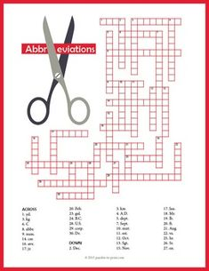 Help students learn, memorize and spell 33 common abbreviations with this fun crossword puzzle worksheet. The clues give an abbreviation and the answer is the word which it represents. The abbreviations include all of the abbreviations for Fun Games For Kids, Puzzles For Kids, Worksheets For Kids, Printable Crossword Puzzles, Printable Worksheets, Printables, Spelling Help, Sewing Terms, Teaching Vocabulary