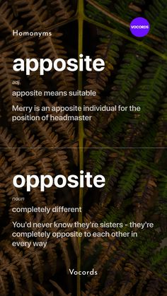 Let's learn Apposite Vs Opposite English Idioms, English Phrases, Learn English Words, English Grammar, Beautiful Words In English, Interesting English Words, English Learning Spoken, Education English, Confusing Words