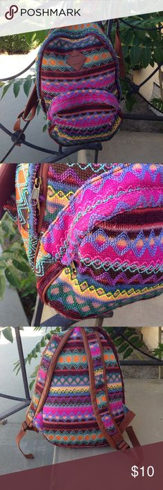Rainbow crotchet backpack From target. Cute backpack but the threads sometimes get stuck in the zipper which I find really annoying. Other than a few loose threads (see pics) the backpack is in almost perfect condition Mossimo Supply Co. Bags Backpacks