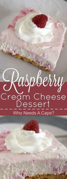 Creamy, dreamy and oh so good! This easy Raspberry Cream Cheese Dessert is practically no-bake and full of fruity goodness. | Who Needs A Cape? #FreakyFridayRecipes